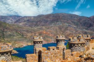 Картинка Испания Гора Крепость Башня Batería De Castillitos, Murcia город