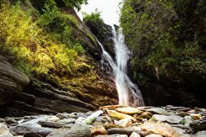 Фотография Камни Водопады Утес Кустов