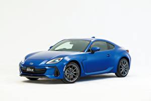 Обои Subaru Синяя Металлик Белым фоном BRZ, JP-spec, 2021 авто