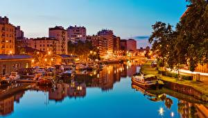 Фотографии Рассветы и закаты Реки Речные суда Франция Toulouse, Occitania, Haute-Garonne, Garonne river город
