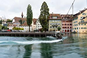 Обои Швейцария Здания Озеро Причалы Lucerne Города