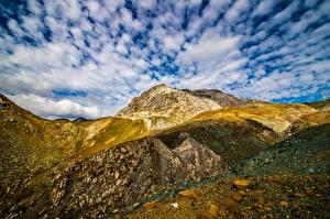 Фотографии Швейцария Гора Альпы Облачно Graubünden Природа