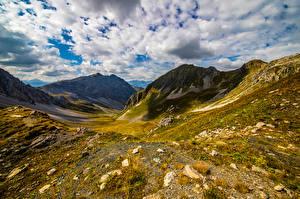 Обои Швейцария Горы Альп Облачно Graubünden Природа