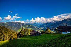 Картинка Швейцария Горы Дома Пейзаж Альпы Furna
