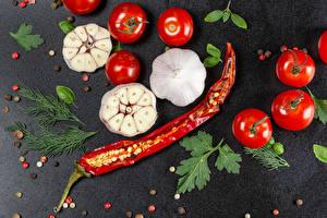 Фото Томаты Чеснок Перец чёрный Острый перец чили Укроп Пища