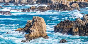 Фотография США Побережье Калифорнии Скала Big Sur Природа
