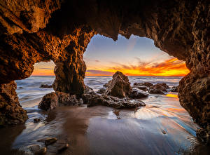 Картинки США Побережье Скале Арки Калифорнии El Matador Beach Природа