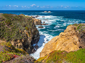 Картинка Америка Побережье Океан Калифорнии Скала Big Sur Природа