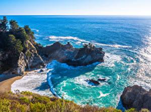 Фотографии США Берег Океан Калифорния Скала Природа
