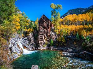 Картинка Америка Горы Осень Дерева Водяная мельница Crystal Mill, Colorado Природа