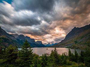 Фото США Гора Озеро Парк Облака St. Mary Lake, Glacier National Park