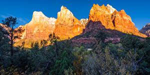 Обои для рабочего стола Америка Горы Парк Осень Зайон национальнай парк Утес Utah Природа