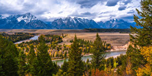 Картинка Америка Гора Река Панорама Пейзаж Парки Деревья Grand Teton National Park, Snake River, Wyoming Природа