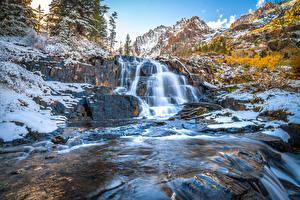 Фото США Горы Камни Водопады Калифорния Lundy Canyon Природа