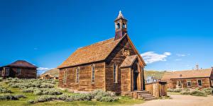 Фото Америка Парки Церковь Дома Калифорнии Деревянный Bodie State Historic Park Природа