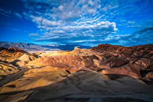 Фото Америка Парки Скала Облака Калифорния Death Valley National Park Природа