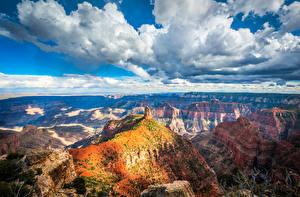 Обои Америка Парки Гранд-Каньон парк Пейзаж Облако Утес Каньон Arizona