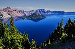 Фотография США Парк Горы Озеро Остров Crater Lake National Park Oregon Природа