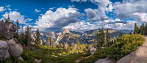 Обои Штаты Парк Горы Панорама Пейзаж Калифорния Облако Скале Йосемити Дерево