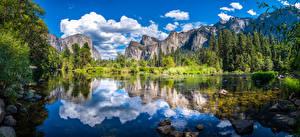 Фото США Парк Горы Река Панорама Пейзаж Облака Отражение Скалы Йосемити Калифорнии