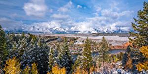 Фото Америка Парки Горы Реки Пейзаж Панорамная Облако Деревьев Снеге Grand Teton National Park, Snake River, Wyoming Природа