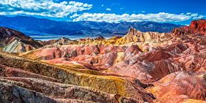 Фото Штаты Парк Гора Пейзаж Панорама Калифорния Скала Облака Death Valley National Park Природа