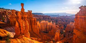 Картинка Штаты Парки Панорамная Каньона Скалы Bryce Canyon National Park, Utah Природа