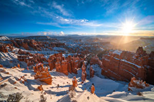 Фотографии Америка Парк Пейзаж Скала Каньона Солнца Bryce Canyon National Park, Utah Природа