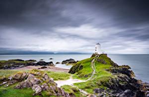 Фотографии Великобритания Маяки Берег Уэльс Anglesey Природа