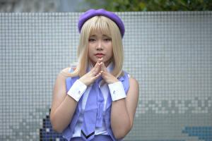 Фотография Азиаты Блондинки Косплей Руки Взгляд