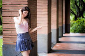 Картинки Азиатки Боке Поза Юбка Блузка Девушки