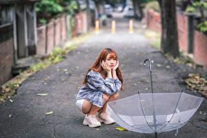 Картинки Азиаты Сидящие Зонтом Боке Девушки