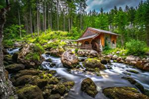 Фото Австрия Гора Камни Ручей Деревьев Водяная мельница Мох Schwarzbach Creek Природа