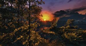 Картинка Осень Рассвет и закат Небо Солнце Деревьев Облако