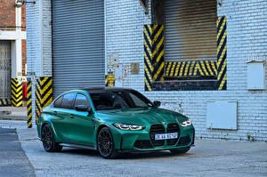 Картинка BMW Зеленая 2021 M3 Competition машина