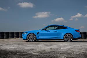 Картинка BMW Сбоку Голубой Металлик Купе M4 Competition xDrive, Worldwide, (G82), 2021 авто