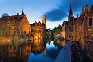 Картинка Бельгия Брюгге Дома Водный канал Города
