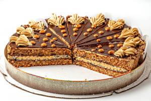 Обои для рабочего стола Торты Шоколад Белый фон Дизайн Еда