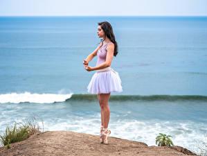 Фото Побережье Поза Балет Ноги Танцы Девушки