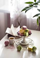Обои Кофе Чашка Макарон Разноцветные Боке