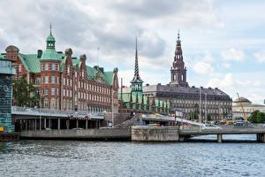 Картинки Копенгаген Дания Дома Мосты Водный канал