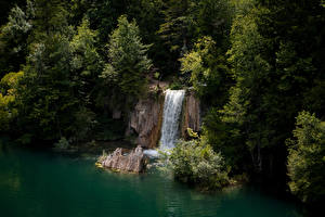 Картинки Хорватия Парки Озеро Водопады Скалы Деревья Plitvice Lakes National Park
