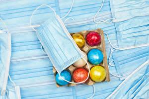 Фотография Пасха Коронавирус Маски Яйца Разноцветные Еда