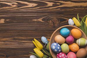 Картинка Пасха Тюльпаны Доски Яйцами Разноцветные Дизайна Еда Цветы