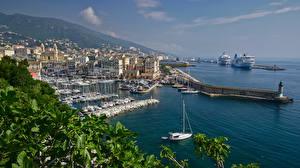 Обои для рабочего стола Франция Берег Пристань Круизный лайнер Яхта Лодки Дома Bastia, Corsica Города