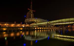 Фотографии Германия Дома Мост Река В ночи Bremerhaven город