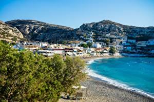 Фотографии Греция Остров Пляже Холмов Crete город