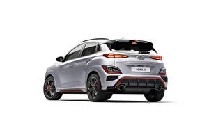 Картинки Hyundai Серебряный Металлик Вид сзади Белом фоне Kona N, (Worldwide), (OS), 2021 машины