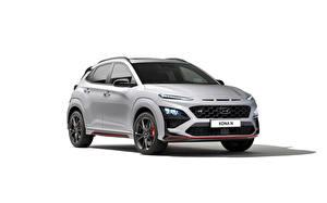 Обои Hyundai Серебристый Металлик Белом фоне Kona N, (Worldwide), (OS), 2021 Автомобили
