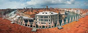 Фотографии Италия Дома Панорама Венеция Краши